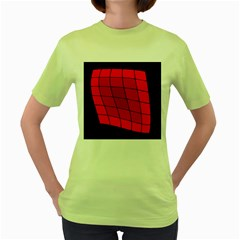 Red abstraction Women s Green T-Shirt by Valentinaart