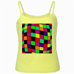 Colorful cubes  Yellow Spaghetti Tank by Valentinaart