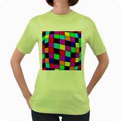 Colorful Cubes  Women s Green T Shirt by Valentinaart