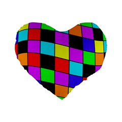 Colorful Cubes  Standard 16  Premium Heart Shape Cushions by Valentinaart