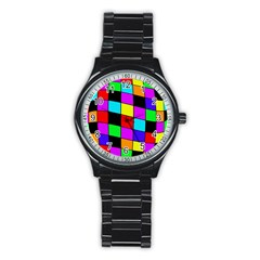 Colorful Cubes  Stainless Steel Round Watch by Valentinaart