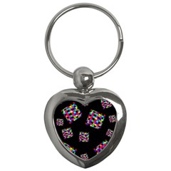 Flying  Colorful Cubes Key Chains (heart)  by Valentinaart