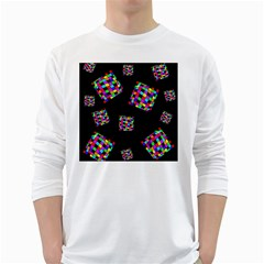 Flying  Colorful Cubes White Long Sleeve T Shirts by Valentinaart