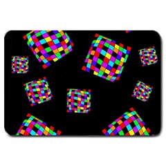 Flying  Colorful Cubes Large Doormat  by Valentinaart