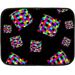 Flying  Colorful Cubes Double Sided Fleece Blanket (mini)  by Valentinaart