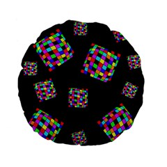 Flying  Colorful Cubes Standard 15  Premium Flano Round Cushions by Valentinaart