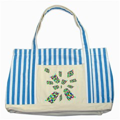 Colorful Abstraction Striped Blue Tote Bag by Valentinaart