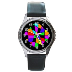 Abstract Colorful Flower Round Metal Watch by Valentinaart