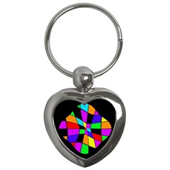 Abstract Colorful Flower Key Chains (heart)  by Valentinaart