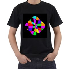 Abstract Colorful Flower Men s T Shirt (black) (two Sided) by Valentinaart