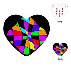 Abstract Colorful Flower Playing Cards (heart)  by Valentinaart