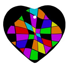 Abstract Colorful Flower Heart Ornament (2 Sides) by Valentinaart