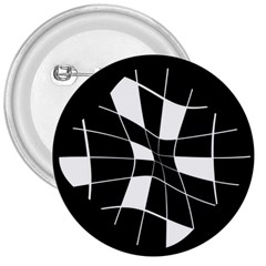 Black And White Abstract Flower 3  Buttons by Valentinaart