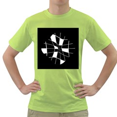 Black And White Abstract Flower Green T Shirt by Valentinaart