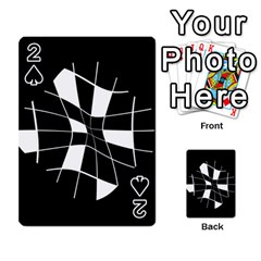 Black And White Abstract Flower Playing Cards 54 Designs  by Valentinaart