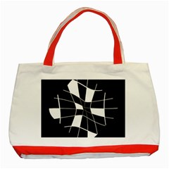 Black And White Abstract Flower Classic Tote Bag (red) by Valentinaart