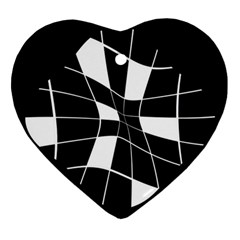 Black And White Abstract Flower Heart Ornament (2 Sides) by Valentinaart