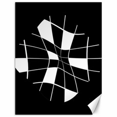 Black And White Abstract Flower Canvas 12  X 16   by Valentinaart