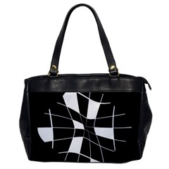 Black And White Abstract Flower Office Handbags by Valentinaart