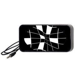 Black And White Abstract Flower Portable Speaker (black)  by Valentinaart