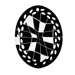 Black And White Abstract Flower Oval Filigree Ornament (2 Side)  by Valentinaart