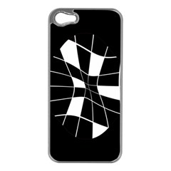 Black And White Abstract Flower Apple Iphone 5 Case (silver) by Valentinaart