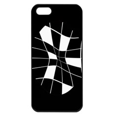 Black And White Abstract Flower Apple Iphone 5 Seamless Case (black) by Valentinaart