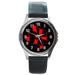 Red Abstract Flower Round Metal Watch by Valentinaart