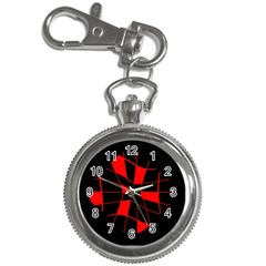 Red Abstract Flower Key Chain Watches by Valentinaart