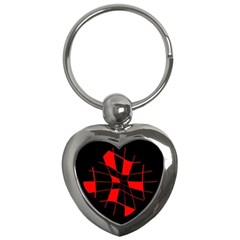 Red Abstract Flower Key Chains (heart)  by Valentinaart