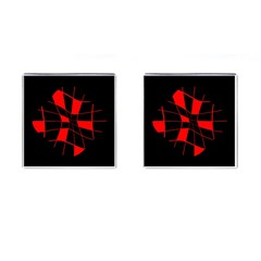 Red Abstract Flower Cufflinks (square) by Valentinaart