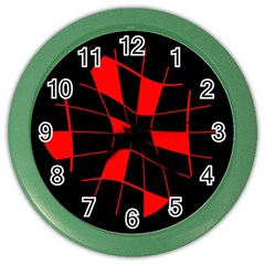 Red Abstract Flower Color Wall Clocks by Valentinaart