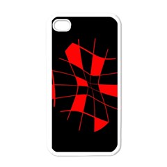 Red Abstract Flower Apple Iphone 4 Case (white) by Valentinaart