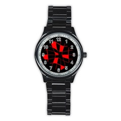 Red Abstract Flower Stainless Steel Round Watch by Valentinaart