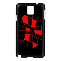 Red Abstract Flower Samsung Galaxy Note 3 N9005 Case (black) by Valentinaart