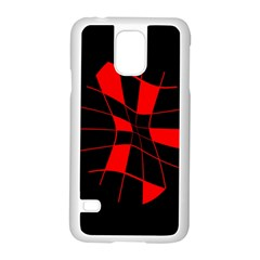 Red Abstract Flower Samsung Galaxy S5 Case (white) by Valentinaart