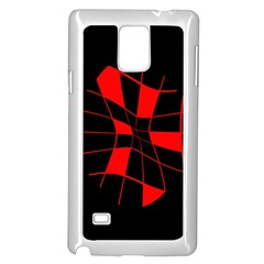 Red Abstract Flower Samsung Galaxy Note 4 Case (white) by Valentinaart