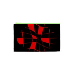 Red Abstract Flower Cosmetic Bag (xs) by Valentinaart