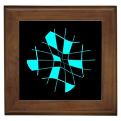 Blue abstract flower Framed Tiles by Valentinaart
