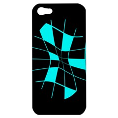 Blue Abstract Flower Apple Iphone 5 Hardshell Case by Valentinaart
