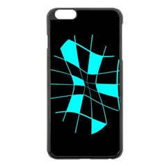Blue Abstract Flower Apple Iphone 6 Plus/6s Plus Black Enamel Case by Valentinaart