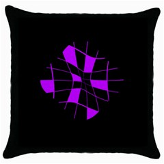 Purple Abstract Flower Throw Pillow Case (black) by Valentinaart