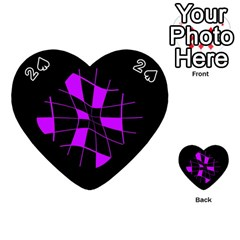 Purple Abstract Flower Playing Cards 54 (heart)