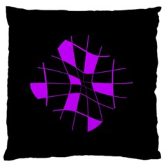 Purple Abstract Flower Large Flano Cushion Case (one Side) by Valentinaart
