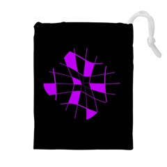 Purple Abstract Flower Drawstring Pouches (extra Large) by Valentinaart