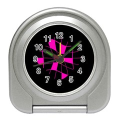 Pink Abstract Flower Travel Alarm Clocks by Valentinaart