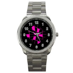 Pink Abstract Flower Sport Metal Watch by Valentinaart