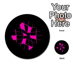 Pink Abstract Flower Multi Purpose Cards (round)