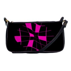 Pink Abstract Flower Shoulder Clutch Bags by Valentinaart