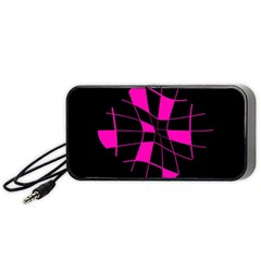 Pink abstract flower Portable Speaker (Black)
